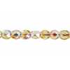 Fire polished 4mm Topaz Aurora Borealis Strung